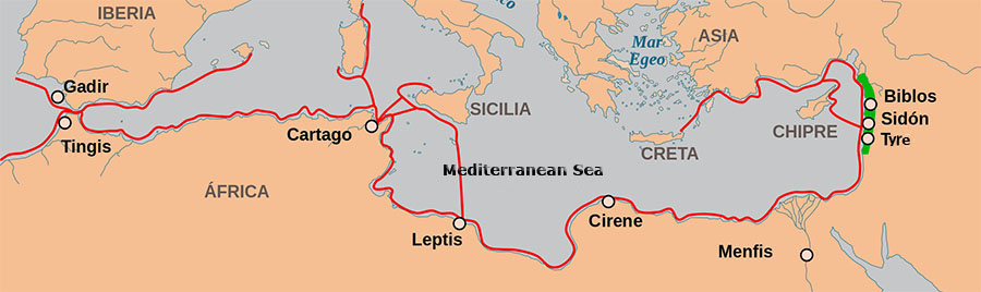 Land routes in the Mediterranean sea Phoenicia and Phoenician influence